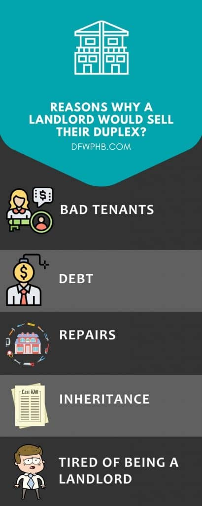 Infographic by DFW Professional Home Buyers stating the reasons why a landlord would want to sell their duplex