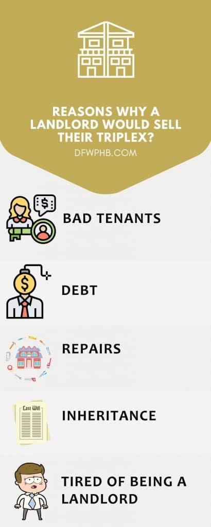 Infographic detailing why a landlord would sell their triplex