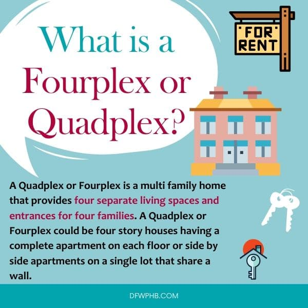 An image answering what is a fourplex or quadplex.