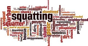 Word art describing squatting